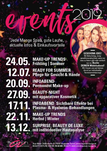 Events - hautnah - Aesthetics   Tattoo   Beautyschool - Kosmetikstudio
